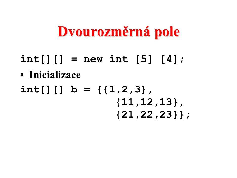 Dvourozměrná pole int[][] = new int [5] [4]; Inicializace